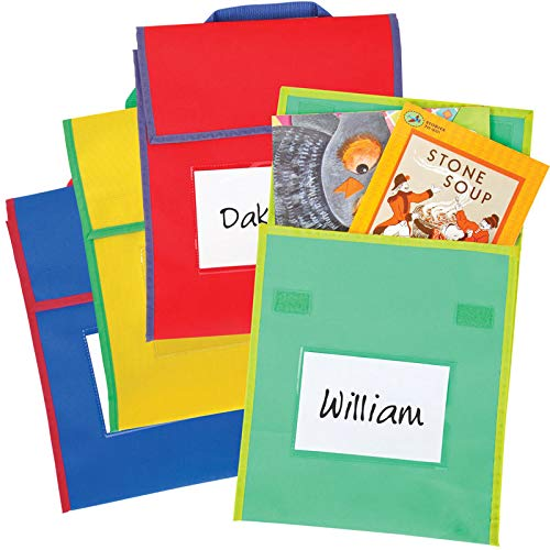 - Really Good Stuff Store More Medium Book Pouches - Send Home Books and Homework in Durable Fabric Book Bag - Stitched-On Handle, Clear Name Tag Pocket, Primary Colors, 10