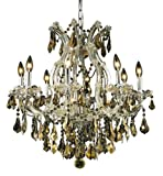 Elegant Lighting 2801D26C-GT/RC Maria Theresa 26-Inch High 9-Light Chandelier, Chrome Finish with Golden Teak (Smoky) Royal Cut RC Crystal