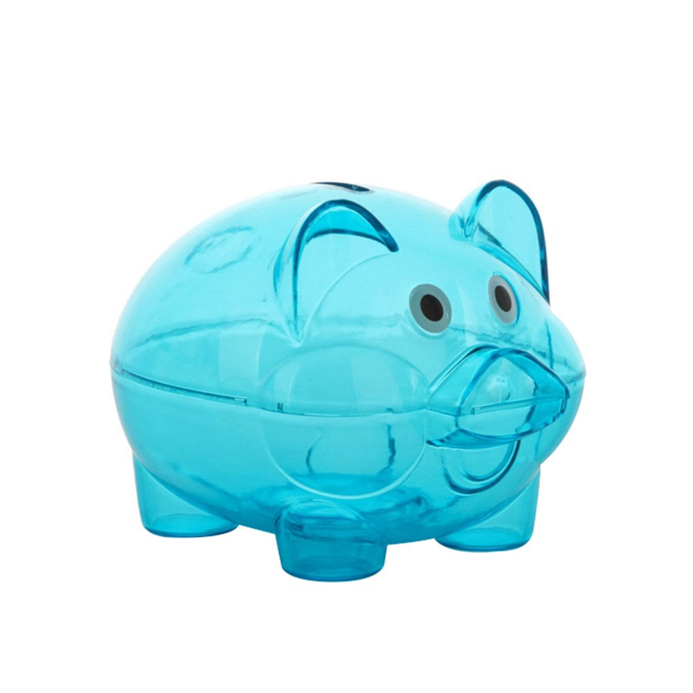 collectsound Clear Lovely Piggy Bank Plastic Coin Cash Money Saving Box Openable Kids Gift Blue