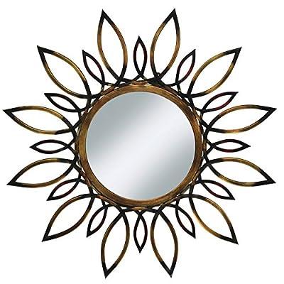 "Urban Designs Imported Sunburst Flare 34"" Round Metal Wall Mirror Gold - Color: Gold brown sunburst Material: metal & glass Mirror dimensions: 11.75Diameter - bathroom-mirrors, bathroom-accessories, bathroom - 51UjXSotOqL. SS400  -"