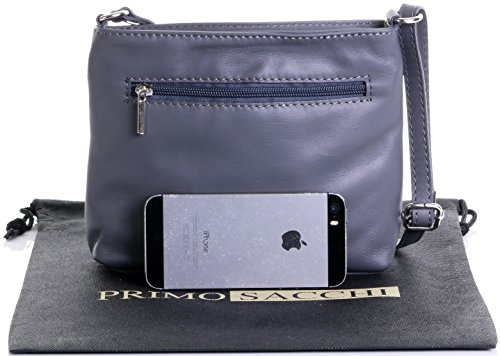 Handbag Body Cross Adjustable Grey Strap Sacchi Leather Small Hand Dark Soft Primo Italian Made Bag Shoulder vO1BSfq