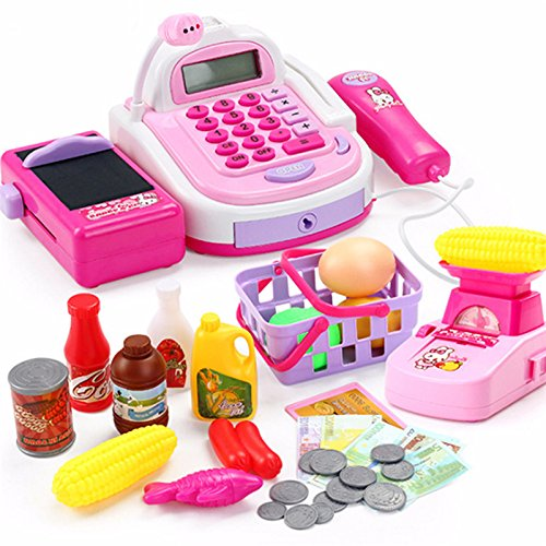 et Cash Register with Simulation Electronic Computer,Checkout Scanner,Weight Scale, Microphone, Calculator, Play Money and Food Shopping Playset ()