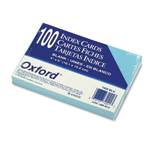 100 Oxford Blue Colored Blank Index Cards - Colored Index