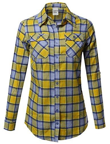 Blue Plaid L/s Shirt (Plaid Checker Button Down Shirt Roll Up Sleeves Yellow Blue L)