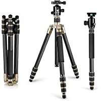 Neewer Carbon Fiber 67 inches/170 centimeters Tripod Monopod with 360 Degree Ball Head,1/4 inch Quick Release Plate,Carrying Bag for DSLR Camera,Video Camcorder,Load up to 33 pounds/15 kilograms(Gold)