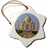 3dRose orn_75425_1 Taj Mahal, Agra, India-As10 Aje0014-Adam Jones-Snowflake Ornament, 3-Inch, Porcelain