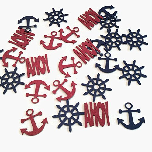 Nautical Confetti in Red and Blue with Anchor, Ship Wheels, and AHOY 200 Pieces