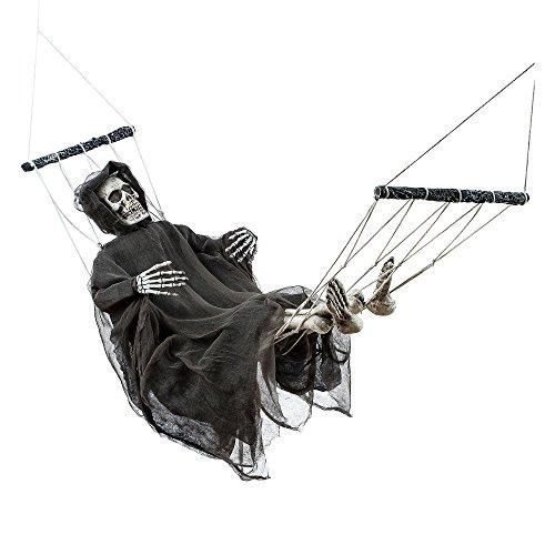 Fun World Women's Lazy Bones Reaper Hammock Life Size Prop, black, Standard]()