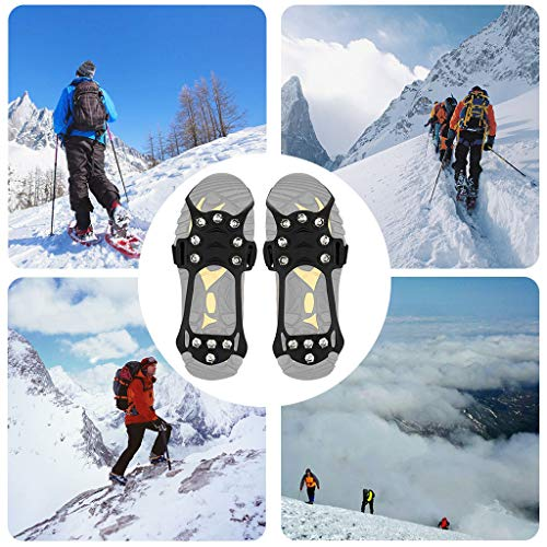 Franterd Tools Non-Slip Snow Cleats Shoes Boots Cover Step Ice Spikes Grips Crampons Footwear for Walking, Jogging, Hiking, Mountaineering Ice Snow Grips (Black, M)