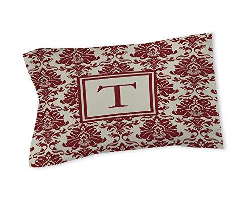Thumbprintz Pillow Sham, Standard, Monogrammed Letter T, Crimson Damask