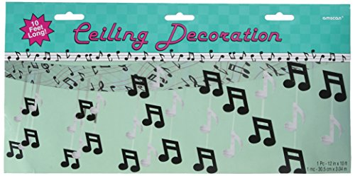 Amscan Nifty 50's Theme Party Foil Ceiling Decoration, Silver/Black, 8.3 x 15.5