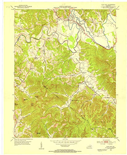 YellowMaps Clay City KY topo map, 1:24000 Scale, 7.5 X 7.5 Minute, Historical, 1952, Updated 1953, 27.4 x 22.5 in - Paper