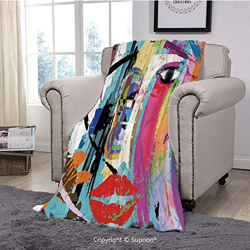 BeeMeng Throw Blanket/Super Soft Fuzzy Light Blanket,Art,Contemporary Paint