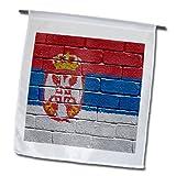 Cheap Carsten Reisinger Illustrations – National flag of Serbia painted onto a brick wall Serbian – 18 x 27 inch Garden Flag (fl_156982_2)