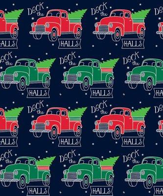 (Deck the Halls Truck Gift Wrap Flat Sheet 24