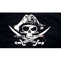 5Ft X 3Ft 5'X3' Flag Pirate Skull Cross Sabres Pirates Of The Caribbean