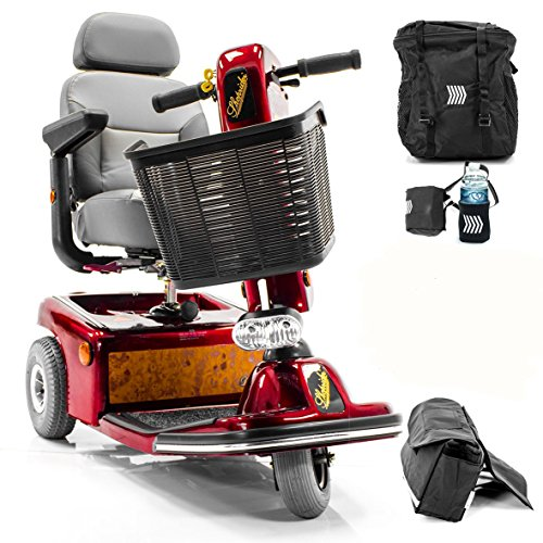 - Shoprider Sunrunner 3-Wheel Electric Mobility Scooter 888B-3 RED + Challenger Accessories - Bundle