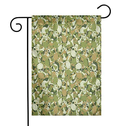- duommhome Camo Garden Flag Sketchy Skulls and Crossbones Warning Sign Spooky Scary Horror Tile Premium Material W12 x L18 Pale Brown Green Pale Green