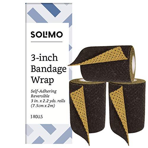 Amazon Brand - Solimo Reversible Black/Gold Self-Adhering Bandage, 3 x 5 Roll (3 Pack)
