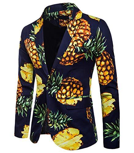 [해외]Teety 남성 슬림 피트 정장 캐주얼 파인애플 인쇄 옷 깃 칼라 원 버튼 블 레이저 재킷 / Teetyesy Mens Slim Fit Suits Casual Pineapple Print Lapel Collar One Button Blazer Jacket