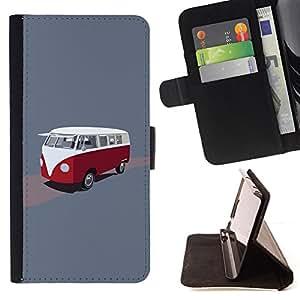 BullDog Case - FOR/Samsung Galaxy S5 Mini, SM-G800 / - / bus retro vintage minivan red white drawing /- Monedero de cuero de la PU Llevar cubierta de la caja con el ID Credit Card Slots Flip funda de cuer