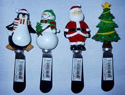 Snowman Spreader Set (Set of 4 Christmas Butter Spreaders Butter Serving Knifes By Ganz Snowman, Santa, Penguin, Christmas Tree)