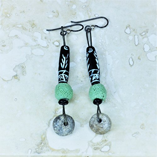 Designer Leather Earrings (GLAMTRIBALE Green Lava Woolly Mammoth Bone on Leather Earrings)