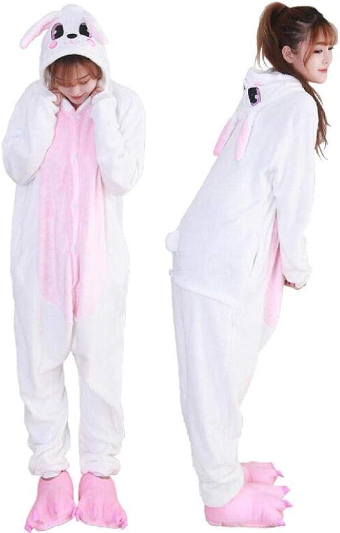 Conejo Blanco Animal Unisex Adulto con Capucha Pijamas De ...