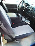 Durafit Seat Covers C1127-V1/V7 - Chevy Truck/Pickup Silverado, Avalanche and GMC Sierra LT 40/20/40 Custom Black/Gray Automotive Velor Seat Covers.