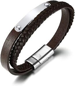 Personnalisé Hommes Inoxydable ID Tag Bracelet Tressé De Corde Bracelet Gravure Gratuite
