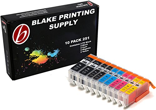 Blake Printing Supply 10 Pack Compatible Ink Cartridges for iP7220, iX6820, MG5420, MG5422, MG5520, MG5522, MG5620, MG6420, MG6620, MX722, - Keep Printing