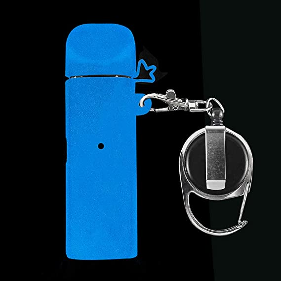 CEOKS for Smok Novo Silicone Case with Keychain Anti-Loss Holder Carrying  case Rubber Skin wrap (Luminous Blue)