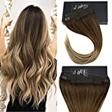 """Sunny 18"""" Invisible Hair Extensions No Gule Human Hair Ombre Dark Brown Fading to Medium Browm with Blonde Flip Fish Line Human Hair Extension 80g"""