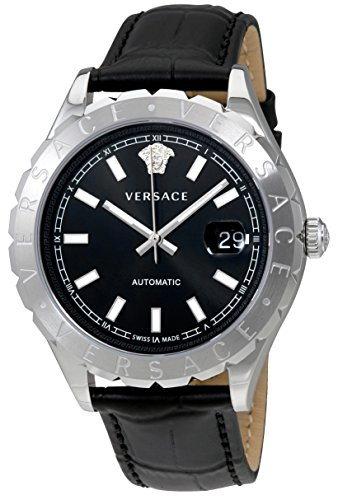 Versace-Mens-HELLENYIUM-Swiss-Automatic-Stainless-Steel-and-Leather-Casual-Watch-ColorBlack-Model-VZI010017