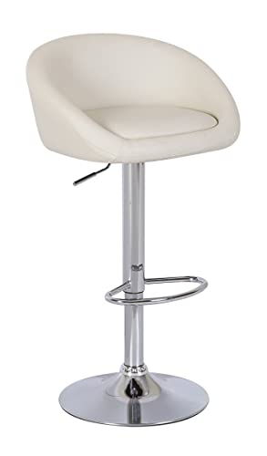 2 X Cream Breakfast Bar Stools Faux Leather Barstools