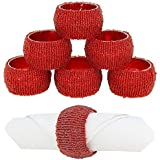6 Red Beaded Napkin Rings Party Home Table Decoration Serviette Holder Wedding Christmas Dinner Gift by Concept4u