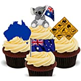 Australia Fun Pack, Edible Cupcake Toppers - Stand-up Wafer Cake Decorations by Made4You