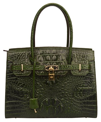 Ainifeel Women's Crocodile Embossed Leather Handbags and Purses On Clearance (Green A) by Ainifeel