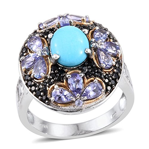 Sleeping Beauty Turquoise Multi Gemstone 14K YG and Platinum Plated Sterling Silver Ring Size 11 (14k Yg Multi Gemstone)