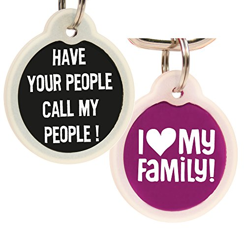 (Funny Dog and Cat Tags Personalized w/ 4 Lines of Custom Engraved Text. Dog and Cat Collar ID Tags Come w/Glow in The Dark Silencer to Protect Tag & Engraving. (Have Your People…))