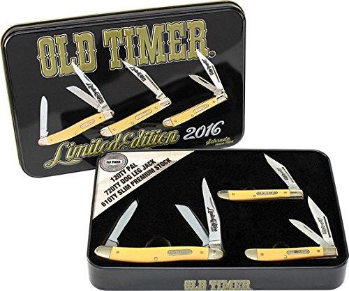 Schrade Old Timer Tin Set Yellow SCHPROM1620CPY