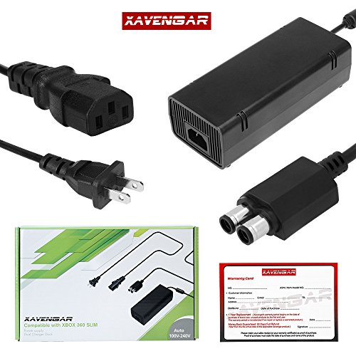Xavengar 135W AC Adapter Power Supply Cord for Xbox 360 Slim Console with Power Cable