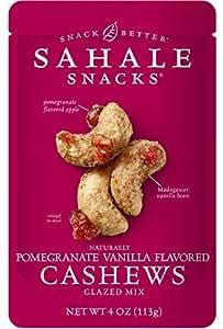 Sahale Snacks Pomegranate Vanilla Flavored Cashews Glazed Mix, 4 Ounce (Pack of 6)