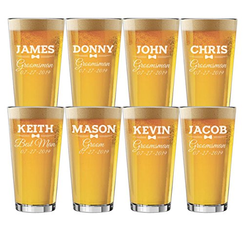 Set of 3, Set of 5, Set of 7 and more Groomsman Wedding Party 16 oz Pint Beer Glasses - Custom Engraved and Personalized for Free - Bow Tie Style (8)