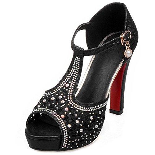 Summer Shoes Party Black Taoffen Shiny Women qPHtHYZ