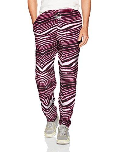 Zubaz Men's Standard Classic Zebra Printed Athletic Lounge Pants, Black/Pink, S]()