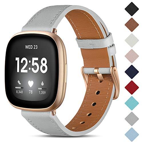 CeMiKa Lederen Bandje Compatibel met Fitbit Sense/Fitbit Versa 3, Vervangende Lederen Band Compatibel met Fitbit Sense…