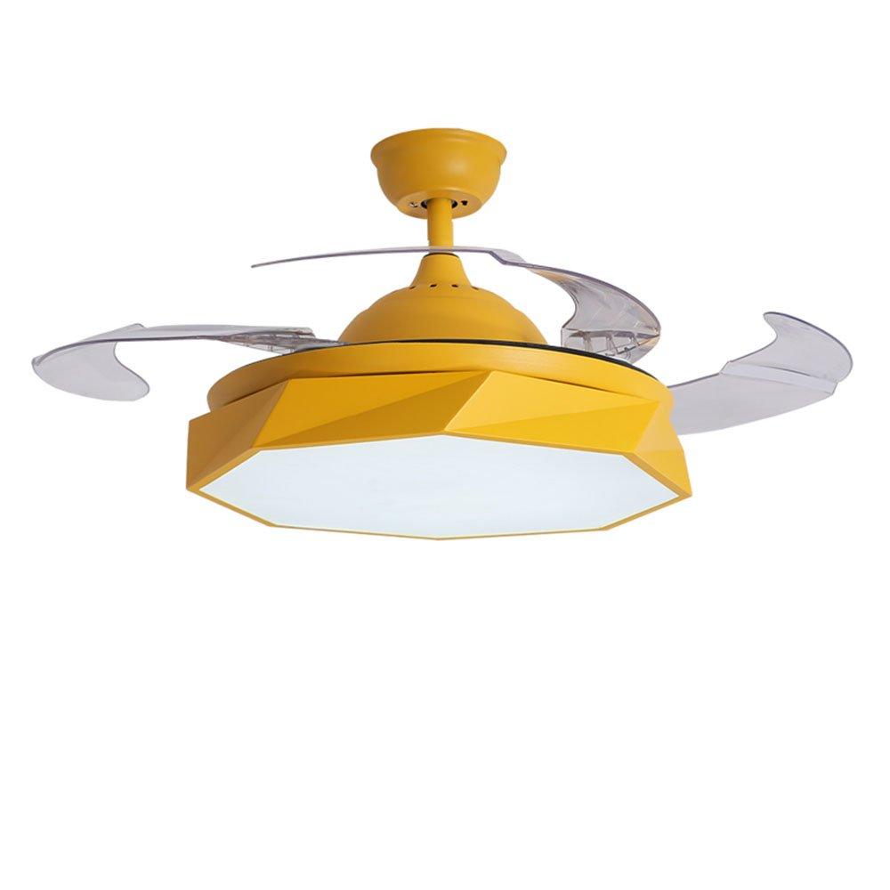 TiptonLight 42 Inch Retractable Ceilling Fan with Remote Control 3 Change Colors 36W Led Lights For Bedroom Living Room