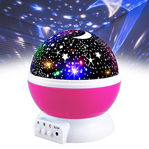 Age 6 Light - Girls Toys Age 2-10, DIMY Night Light Moon Star Rotating Projector for Kids Babies Toys for 3-10 Year Old Girls 2-10 Year Old Girl Gifts Pink DMUSNL03