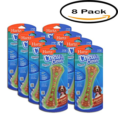 PACK OF 8 - Hartz Chew-N-Clean with Dentashield Dental Duo Toy, Large